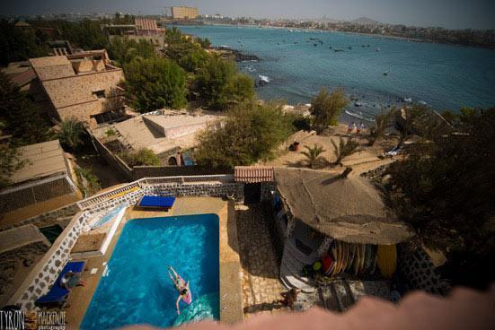 View surf camp from rooftop with NGor and Dakar